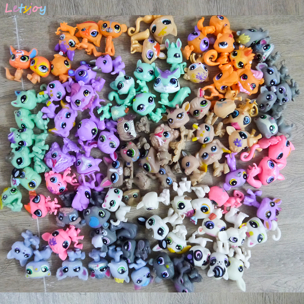 30-90pcs Xmas Toy Gift Mini Pet Pony Horse Littlest Dolls Toys For Children Cute Pet Cat Shop Action Figure Gifts For Girl