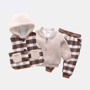 Boys' suit autumn and winter 2020 new children's thick three-piece plus velvet