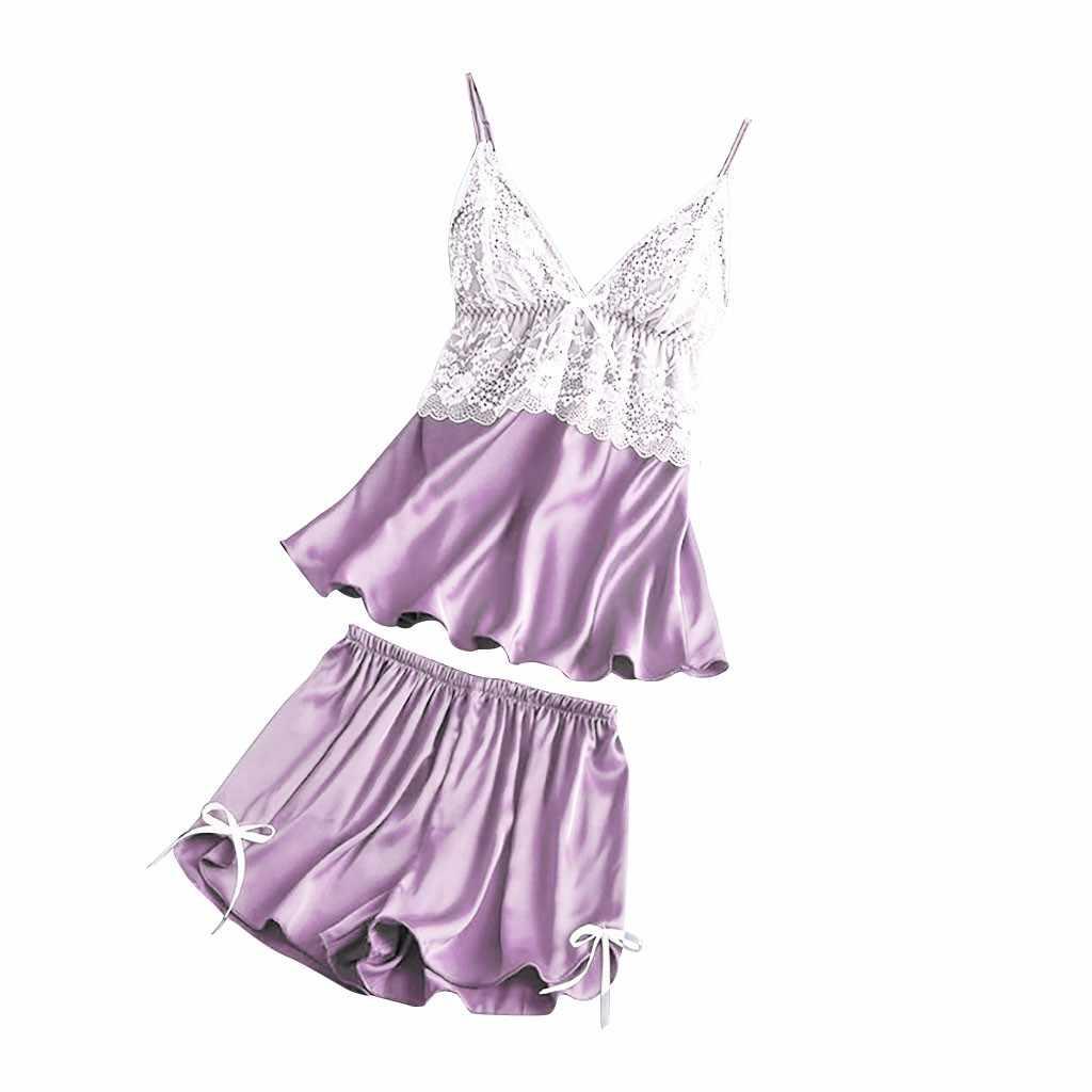 Pajamas Women Sleepwear Women Satin Lace V-neck Camisole Bowknot Shorts Set Sleepwear Pajamas Lingerie Пижама Женская ##7