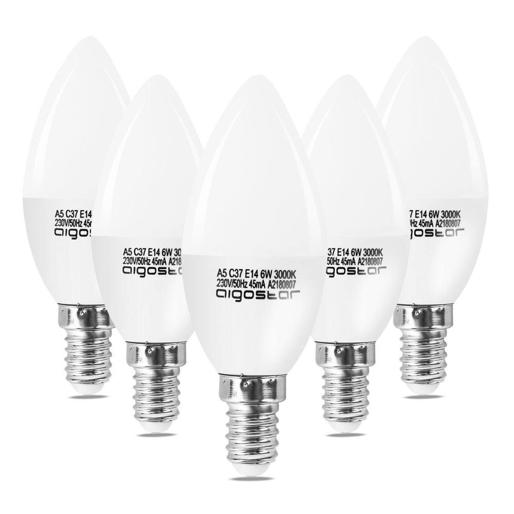 Aigostar - LED Bulb A5 C37 E14, 6W Equivalent To 45W, 3000K, 450 Lumens, Non-regulatable - Pack Of 5 [Energy Class A +]