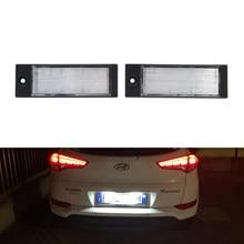 2x para hyundai tucson 2005 2006 2007-2015 2016 2017 2018 2019 2020 smd canbus branco conduziu luzes da placa de licença lâmpada