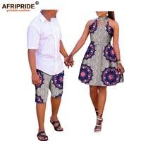 african couple clothes AFRIPRDE ankara print men's knee length pant+women sleeveless knee length dress 100% cotton A72C02