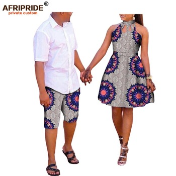 african couple clothes AFRIPRDE ankara print men's knee-length pant+women sleeveless knee-length dress 100% cotton A72C02