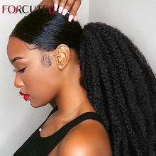 Afro Puff Marley warkocze włosy Afro perwersyjne prosto kucyk organiczne hairpiece szydełkowe warkocze syntetyczne przedłużanie włosów luzem kędzierzawe tanie tanio FORCUTEU Kinky prosto CN (pochodzenie) Wysokiej Temperatury Włókna 140 g sztuka 1 sztuka tylko Clip-in Pure color Puff Afro