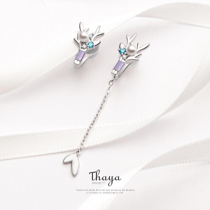 Thaya Ear Clip Earrings Romantic Breast Flower Crystal Clip Earrings  Non-Piercing  Cuff Earrings For Women Silver Earrings