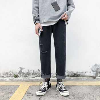 Ripped Straight Jeans Men's Fashion Casual Retro Jeans Pants Men Streetwear Wild Loose Hip-hop Ripped Denim Trousers Mens S-3XL straight jeans men s fashion washed casual retro ripped jeans pants men streetwear wild loose hip hop ripped denim trousers mens