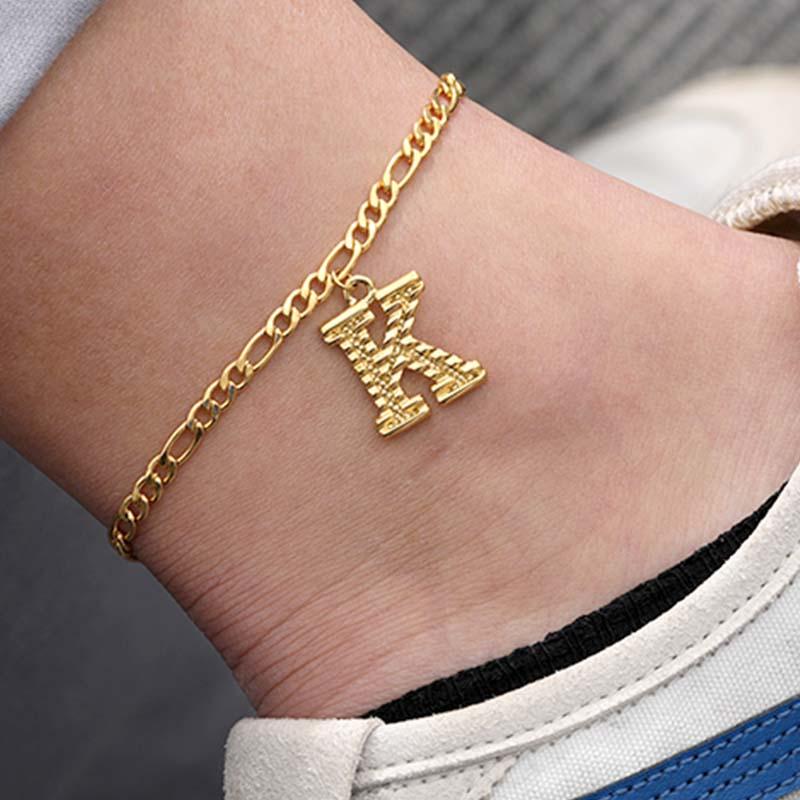 A-Z Initial Letter Anklet for Women stainless steel Gold Chain Anklet bracelet Men Alphabet Leg Jewelry Foot Chain Christmas