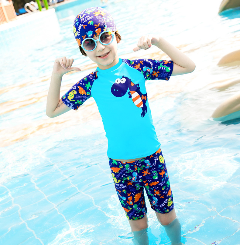 KID'S Swimwear Big Boy Swimsuit For Boys Split Type Boxer Baby Swimming Cap Swimming Trunks Students Hot Springs Tour Bathing Su