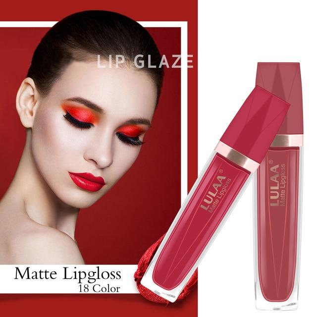 LULAA Lip Gloss  Makeup Liquid Matte Velvet Cosmetics Pigment Lipstick Glitter Moisturizer Longlasting 24 Colors Fashion TSLM1 5