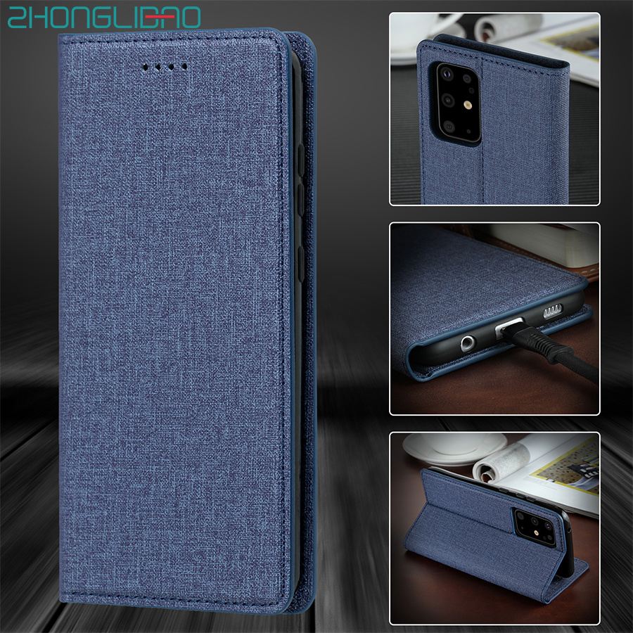 Fabric Texture Flip Leather <font><b>Case</b></font> for <font><b>Samsung</b></font> <font><b>Galaxy</b></font> S20 Ultra S10 Note 10 Plus + <font><b>S11</b></font> Luxury Magnetic Wallet Book Cover Bag Pouch image