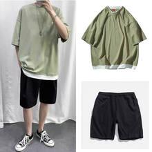 Zestawy dla mężczyzn Patchwork spodnie do kolan lato Chic luźne rekreacyjne zestaw moda mężczyzna koreański proste wszystkie mecze nastolatki Ins BF Ulzzang