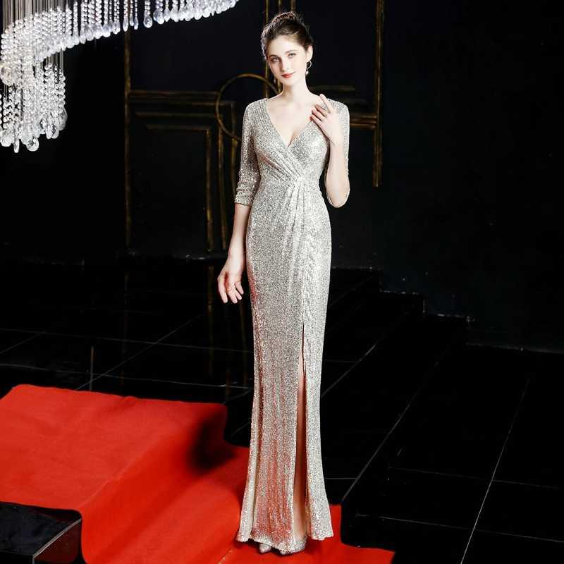 YIDINGZS סקסי V-צוואר פיצול ארוך נשף שמלה חצי שרוול פאייטים ערב המפלגה שמלה ירוק/שחור/כהה/זהב /אדום YD16672