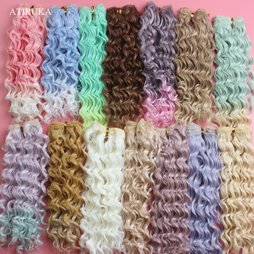 Doll Wig 20*100cm Natural Color Curly Hair For Doll Heat Resistant Fiber Hair Wefts BJD Russian Handmade Doll