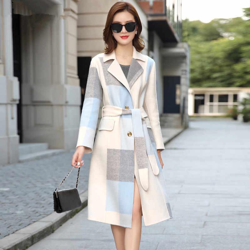 100% Wollen Jas Winter Jas Vrouwen Kleding 2020 Double Side Wollen Jas Vrouwelijke Koreaanse Lange Jackes Manteau Femme MY4228