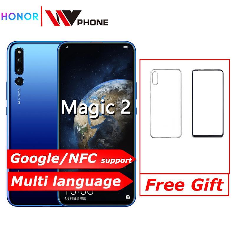 Original Honor Magic 2 android 9.0 kirin 980 Octa Core AI caméra 6.39 pouces téléphone intelligent empreinte digitale id nfc 6 caméras