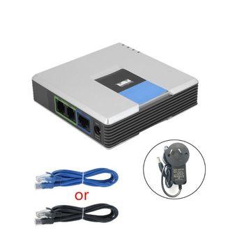 1 zestaw bramka VOIP 2 porty protokół SIP V2 telefon internetowy Adapter głosowy z kablem sieciowym do wtyczki Linksys PAP2T AU EU US UK tanie i dobre opinie JINSHENGDA CN (pochodzenie)