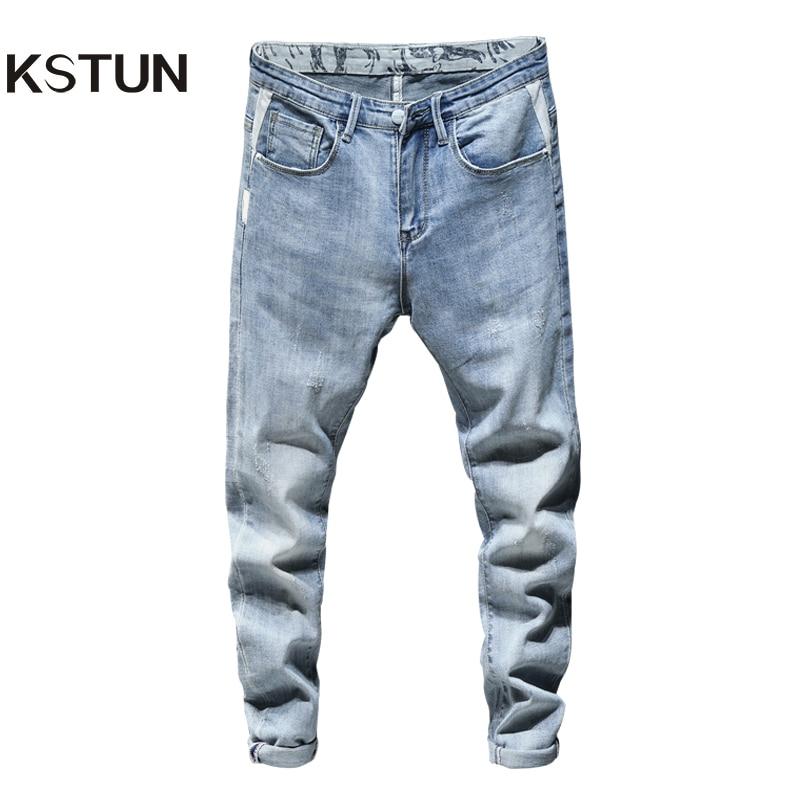 Skinny Jeans Men Light Blue Stretch 2020 Spring Fashion Streetwear Casual Denim Pants Jeans Men's Clothing Long Trousers Cowboys