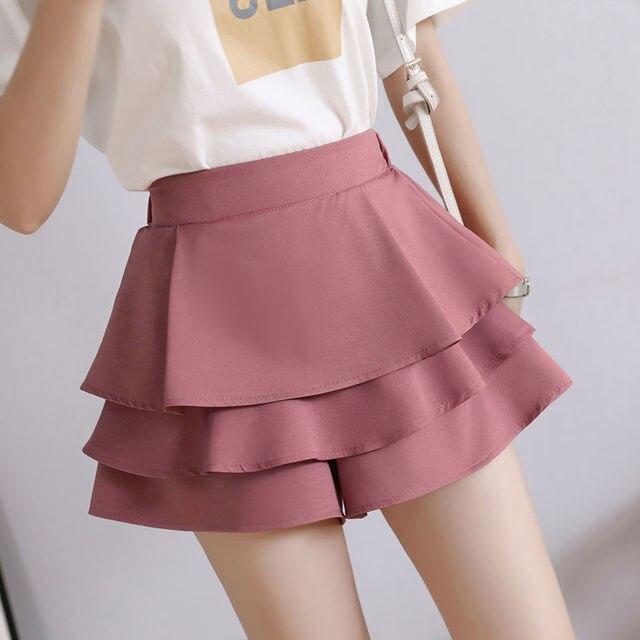 summer chiffon shorts black white green pink elasticated high waist women's Ruffles cake skirt girl lovely sweet student dance 6