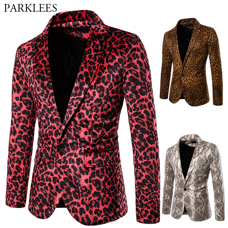 Mens Red Leopard Print Blazer Sexy Wild Men Blazer Jacket Nightclub Dance Blazers Men Prom Stage Costume Homme Casual Blazer Men