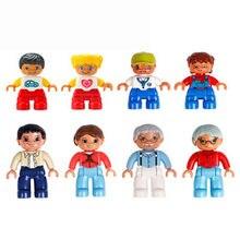 Novo 1 pçs blocos duplo tamanho grande figuras de ação papai vovô grandsonfamily blocos de construção compatível marca duploes educação brinquedo