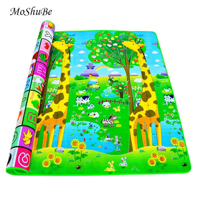 Baby Crawling Play Mat 2*1.8 Meter Climb Pad Double Side Fruit Letters And Happy Farm Baby Toys Playmat Kids Carpet Baby Game-in Play Mats from Toys & Hobbies