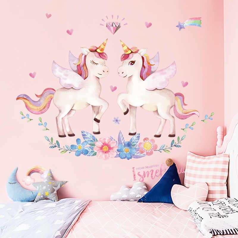 يونيكورن الجدار ملصق للأطفال بنات عيد ميلاد جدار ديكور غرفة نوم صور مطبوعة للحوائط غرفة المعيشة الديكور الأطفال ديكورات منزلية 1 قطعة