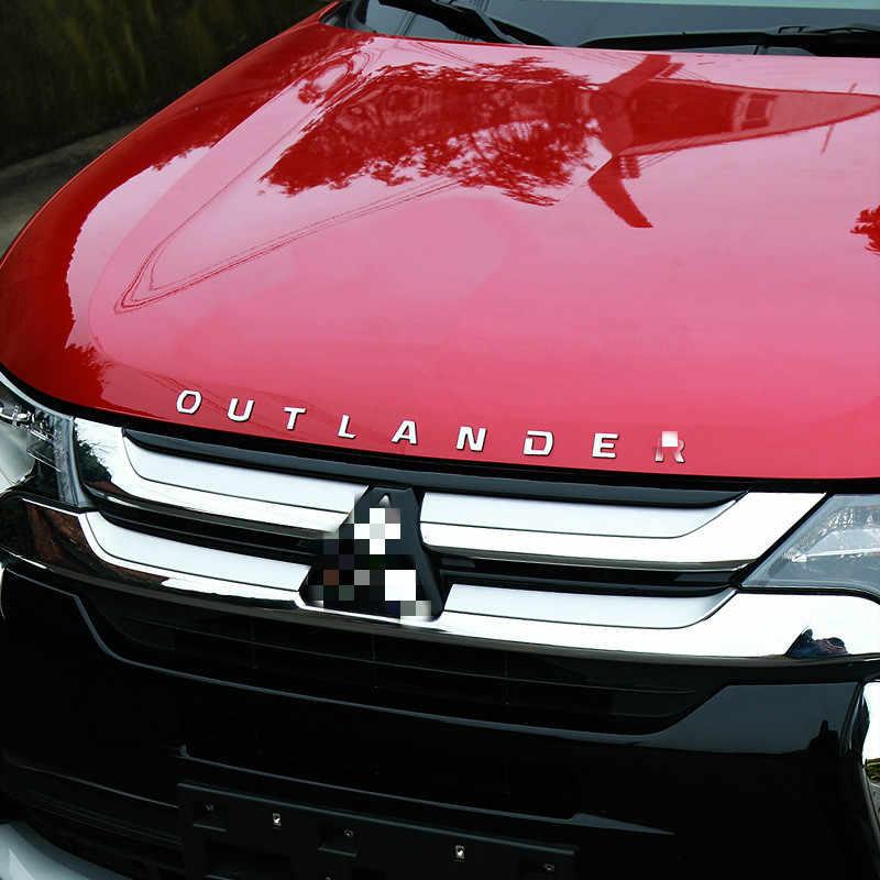 Yeni Mitsubishi Outlander için araba Styling Hood araç amblemi kapak Sticker 3D harfler spor stil kılıf aksesuarları