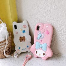 JAMULAR 3D Cartoon Melody Cinnamoroll Phone Case For iPhone X XS MAX XR 7 8 6 6s Plus Lanyard Japan Dog Soft Silicone Back Cover