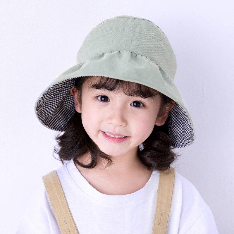 Children Kids Sun Hat With Ponytail Hole Cotton Lightweight Wide Brim Beach Cap
