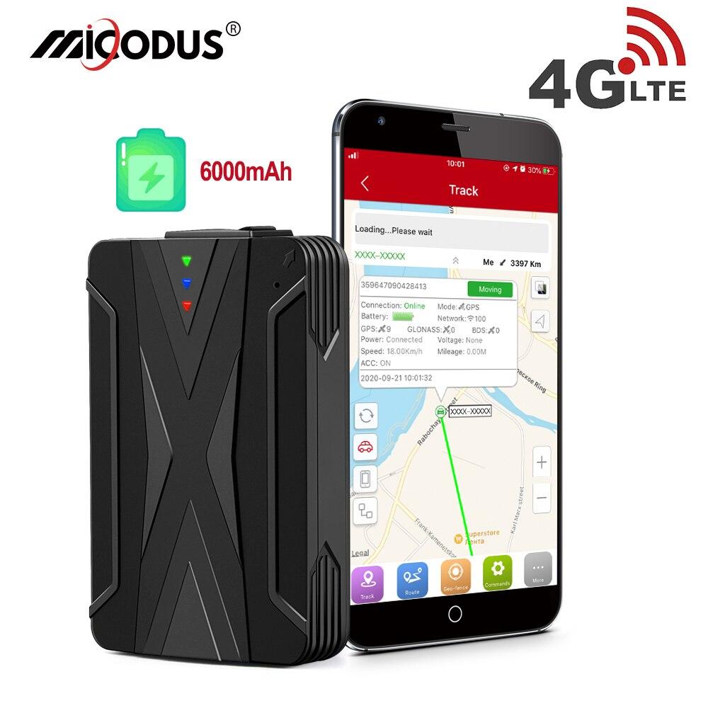 Автомобильный GPS трекер 4G локатор GPS трекер 6000 мА/ч, голосовой монитор Водонепроницаемый IP65 магнитов прямая шок сигнализации время жизни бес...