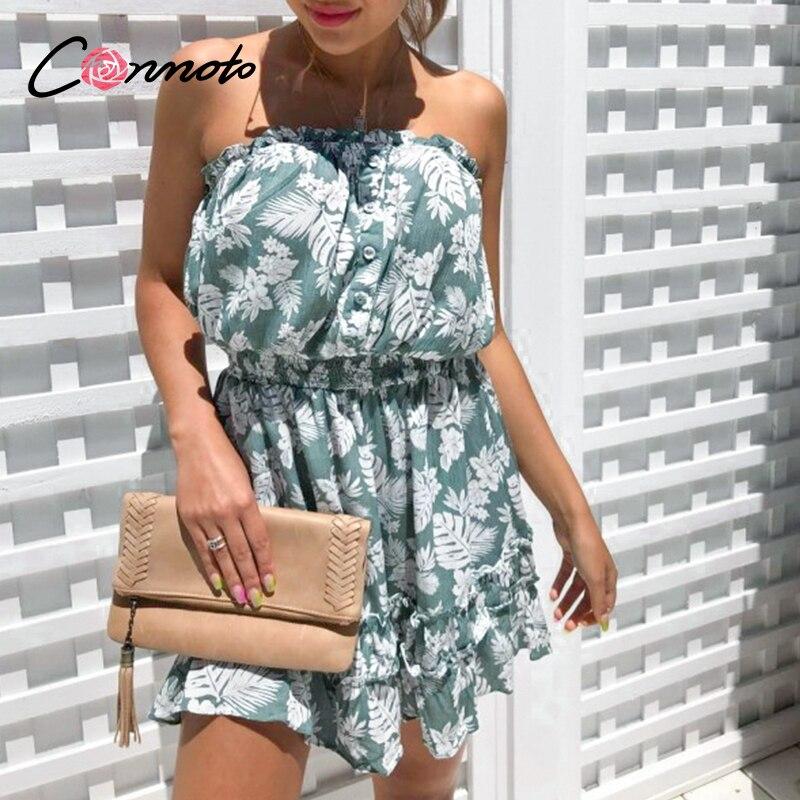 Conmoto Ruffles Beach Boho Dresses Women Strapless Elastic Waist Dress Mini Floral Blue Print 2020 Summer Dress Vestidos