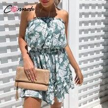 Conmoto الكشكشة شاطئ بوهو فساتين النساء حمالة مرونة الخصر فستان قصير الأزهار الأزرق طباعة 2020 فستان صيفي vestidos