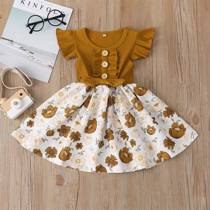 2020 Summer New Kid Dress Sleeved Flower Printed A-line Children Girl Princess Party Dress Baby Toddler Clothes