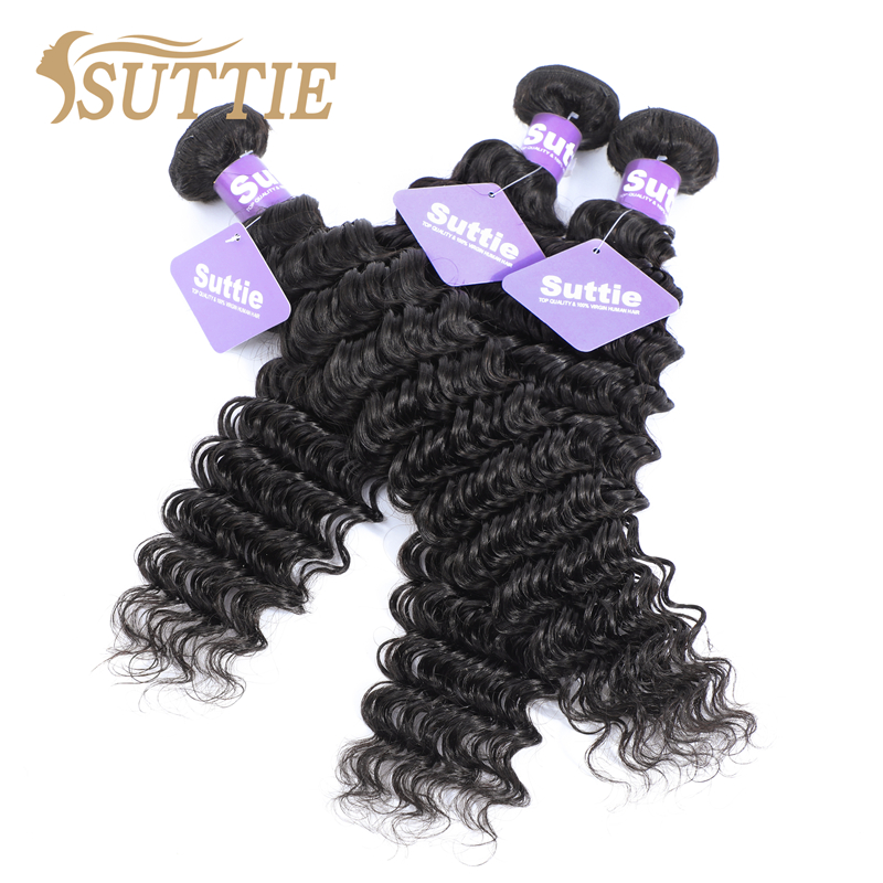 Suttie Peruvian Deep Wave Real Human Hair Bundles Remy Hair Extension Natural Color 1/2/3/4 Bundles For Black Women No Shedding