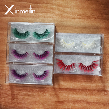 Xinemilin colored faxu mink fake lashes wholesale makeup natural individual false eyelashes various colors white green blue red 1