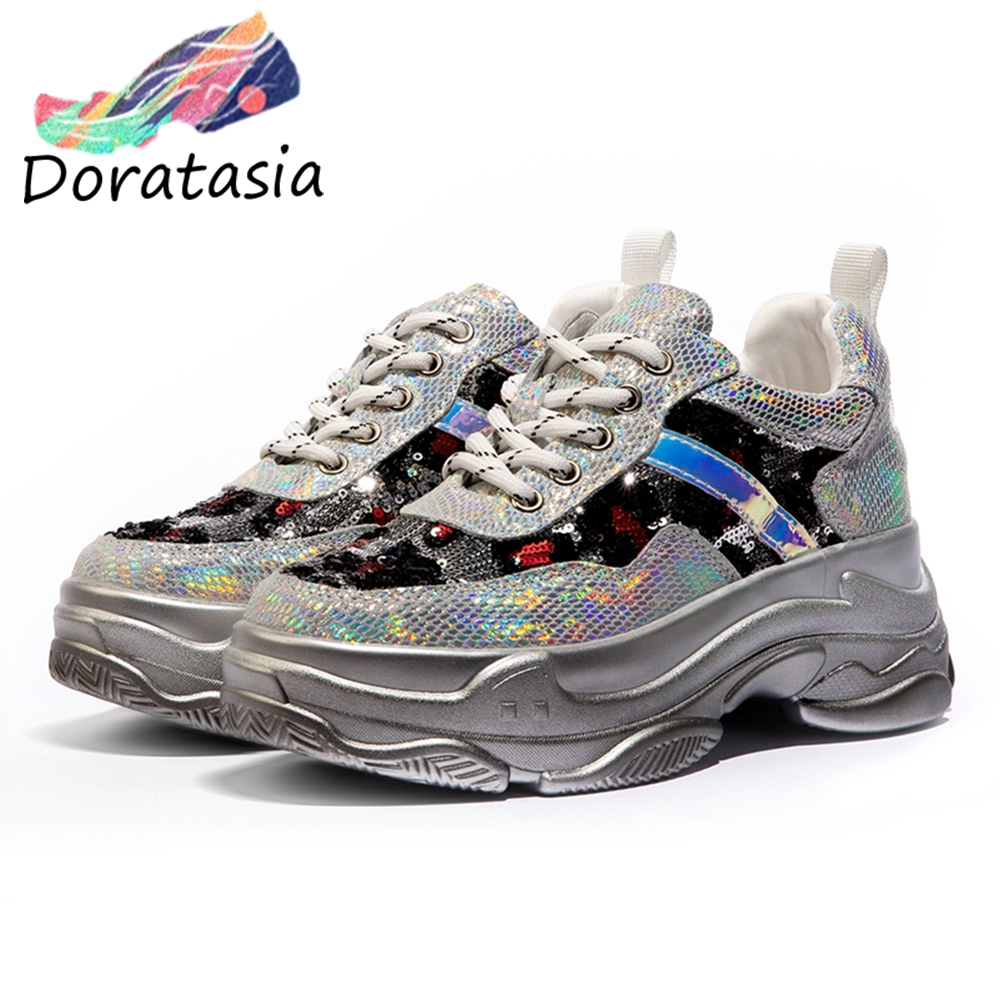 DORATASIA New Colorful Genuine Leather Sneakers Women 2019 Girl Shining Dad Shoes Lady Fashion Bling Flat Platform Shoes Flats in Women 39 s Flats from Shoes