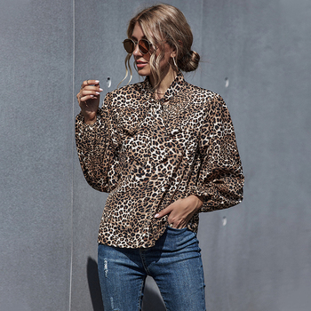 Fall 2020 Women Fashion Leopard Print Bow Tie Neck Blouse Casual Long Lantern Sleeve Leopard Blouse Tops for Women Plus Size tie neck flounce blouse
