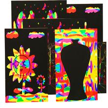 Scratch-Paper Wax Painting-Art Monochrome Scraping Graffiti Color A4 Children Student