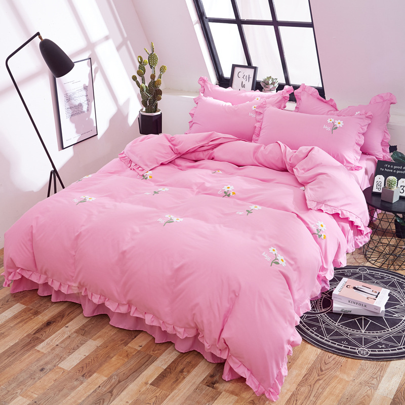 Korean-style Embroidery Princess Style Four-piece Set Towel Embroidery Single Person Double Washed Cotton Bedding Article Manufa