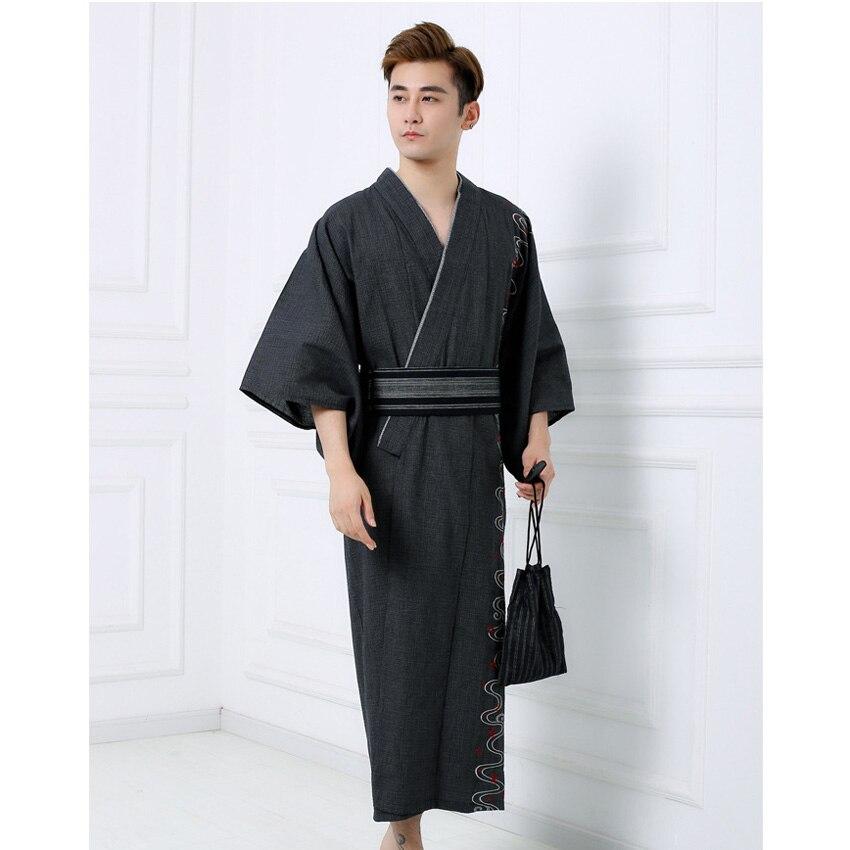 Autumn Winter Man Kimono Yukata Traditional Japanese Costumes Samurai Men Embroidery Jinbei Bathing Robe Gown Sleepwear