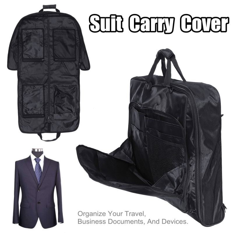 Waterproof Folding Suit Bag Men Clothes Cover Black Oxford Garment Bags With Handle Business Men Travel Bags For Suits New