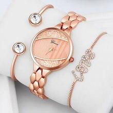 Роскошные женские часы браслет из розового золота 3 шт/компл