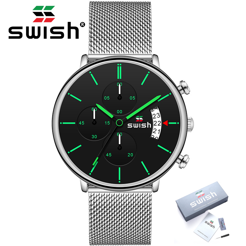 SWISH New Arrival Men Chronograph Wrist Watch Stainless Steel Sports Military Quartz Watches Waterproof Relojes Hombre 2020
