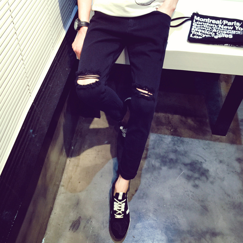 GD G-DRAGON Celebrity Style Jeans Knee With Holes Skinny Black And White With Pattern Leggings With Holes Pants Summer New Style