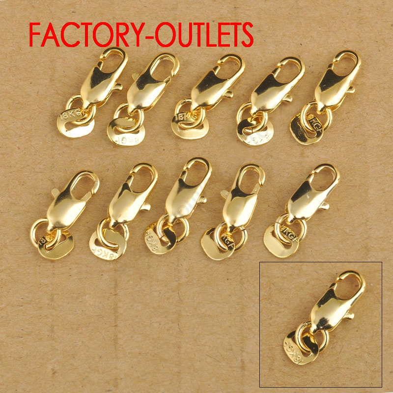 Factory Price 10Pcs 18K Yellow Gold Filled Lobster Clasp GF Connecter For Jewelry Necklace Bracelet 18KGF Stamped Tag