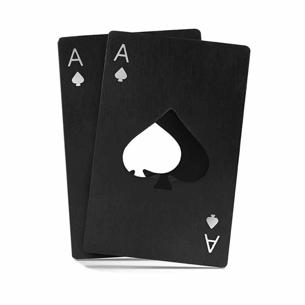 HEIßER Schwarz Poker Karte Spades Bier Flasche Opener Personalisierte Edelstahl Flasche Opener Bar Werkzeug