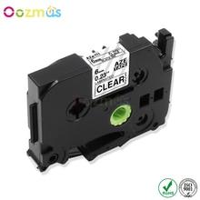 Oozmas 1pcs  label tape 6mm compatible Brother p-touch printers tze 111 tze111 tz111 tz-111 Black on white
