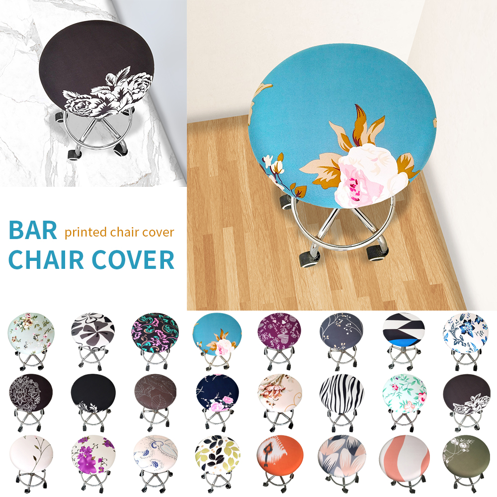 1/2/4pc Round Chair Cover Bar Stool Cover Elastic Seat Cover Home Chair Slipcover Round Chair Bar Stool Floral Printed New