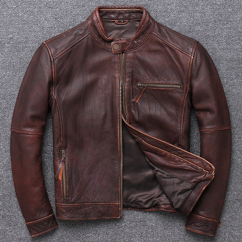 2020 New Quality Genuine Jacket Mens Fashion Spring 100% Cowhide Outwear Gift Sales Motor Leather Coat