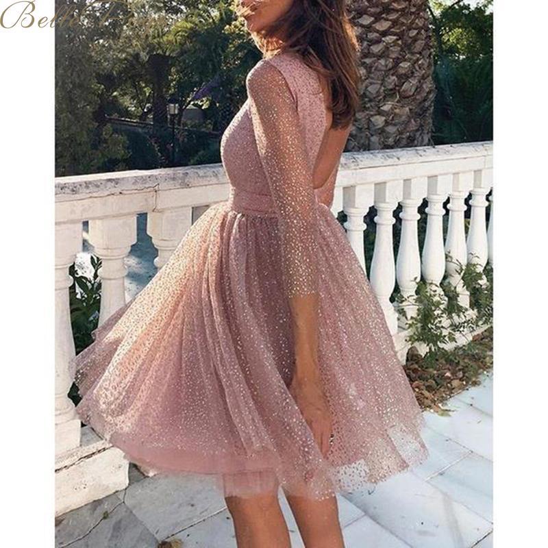 Женское вечернее платье belle poque, расшитое блестками, с круглым вырезом, с длинным рукавом, сексуальное кружевное уличное платье средней длин...